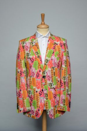 I scream Jacket Funky Icecream Oranje roze groen geel print Blazer Front
