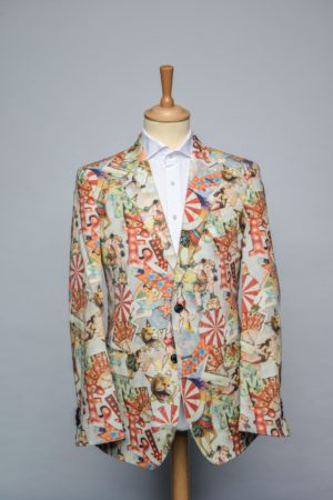 Marty Gras Jacket Funky Print Wit Rood Oranje Blauw Circus Blazer Front