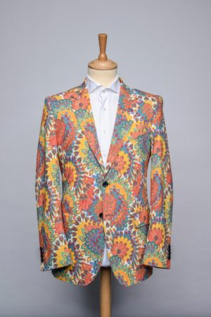 Peacock Flowers Jacket Funky Flower Blazer Stretch Front