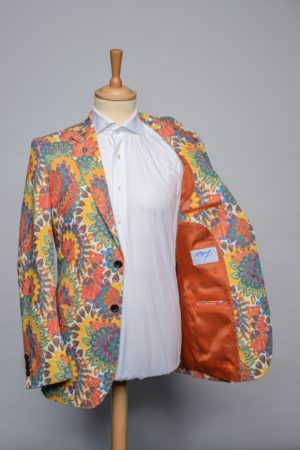 Peacock Flowers Jacket Funky Flower Blazer Stretch Lining
