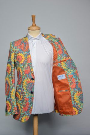 Peacock Flowers turquoise Jacket Funky Flower bloemen print Blazer Stretch Lining