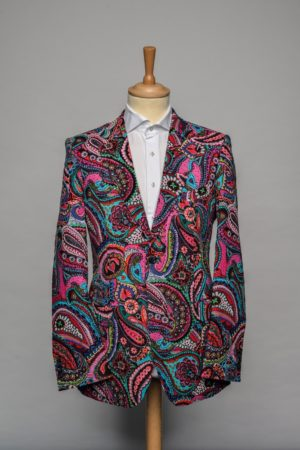 Pink Paisleys Jacket Funky Flower Print roze blauw turquoise Blazer Front