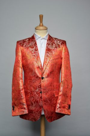 Red N Gold Brocade jacket funky blazer rood goud brokaat Front