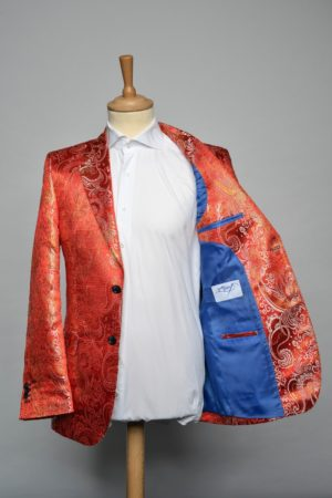 Red N Gold Brocade jacket funky blazer rood goud brokaat lining