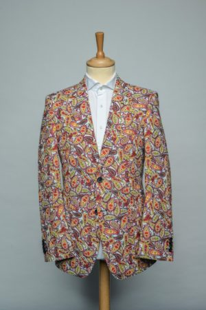 Red Paisleys in white Jacket Funky Flower Print Blazer rood wit Front