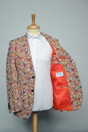 Red Paisleys in white Jacket Funky Flower Print Blazer rood wit Lining
